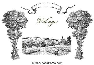 ilustración, aldea