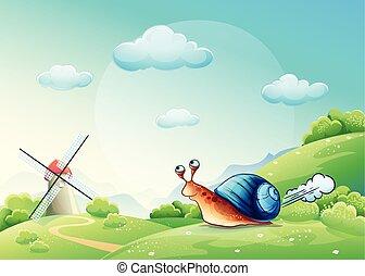 ilustración, alegre, caracol, en, un, pradera