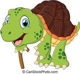 ilustración, anciano, tortuga