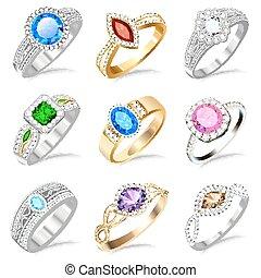 ilustración, anillo, conjunto, con, piedras preciosas, blanco