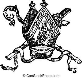 ilustración, antigüedad, vendimia, línea, grabado, personal, obispo, crosier, mitra, mitra, cruz, dibujo, o, pastoral