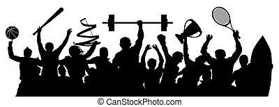 ilustración, athletes., vector, players., deportes, deportista, silueta, set., multitud, gente