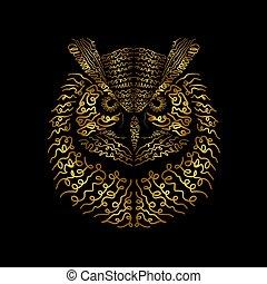 ilustración, búho águila, impresión, vector, diseño