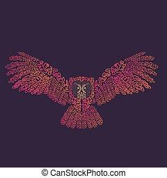 ilustración, búho águila, vector
