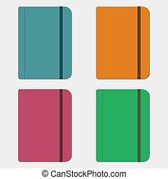 ilustración, band., vector, elástico, cuaderno