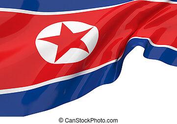 ilustración, banderas, de, korea-north
