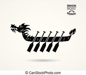 ilustración, barco, fiesta, dragón
