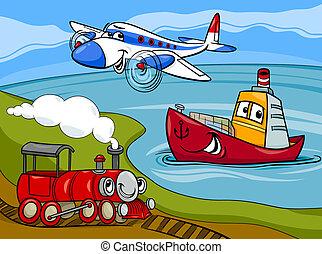 ilustración, barco, tren, caricatura, avión