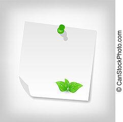 ilustración, blanco, note papel, con, hojas verdes, aislado, blanco, plano de fondo, -, vector