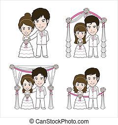 ilustración, boda
