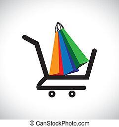 ilustración, bolsas, concepto, compras, colorido, y, símbolo, contiene, -, carrito, comercio electrónico, gráfico, comprar, en línea, bags., conceptually, representar