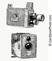 ilustración, bosquejo, corte, viejo, grabado, realista, foto, aislado, vendimia, mano, mirar, lente, madera, vector, retro, película, dibujado, cámara, o, película, estilo