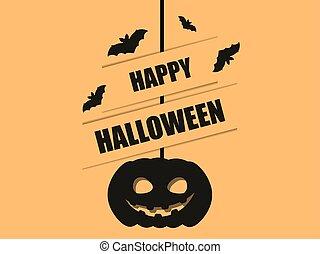 ilustración, calabaza, 31st., color., murciélagos, negro, octubre, feliz, ahorcadura, halloween, vector