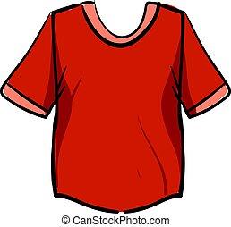 ilustración, camisa, fondo., vector, rojo blanco