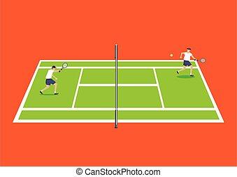 ilustración, caricatura, jugadores, teniendo, tenis, dos, ...