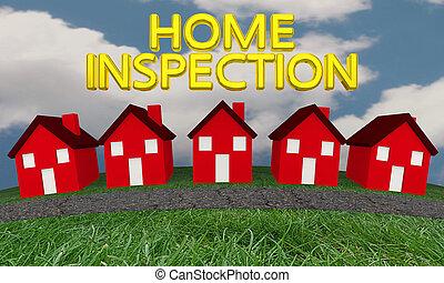 ilustración, casas, calle, palabras, hogar, inspección, 3d