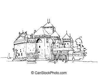 ilustración, castillo, ginebra, dibujo, lago, suiza, chillon, bosquejo
