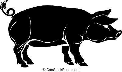 ilustración, cerdo