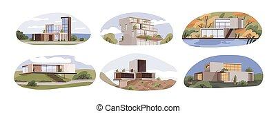 ilustración, chalets, vector, suburbano, arquitectura, exteriores, plano de fondo, plano, panorámico, maisons, aislado, conjunto, blanco, contemporáneo moderno, style., casas, terrazas, windows., cabañas