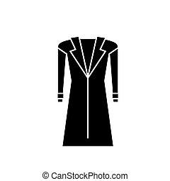 ilustración, chamarra, -, aislado, abrigoligero, vector, fondo negro, icono, señal