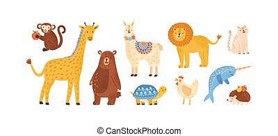 ilustración, characters., divertido, white., conjunto, escandinavo, salvaje, lindo, caricatura, doméstico, aislado, marina, bosque, animal, colección, infantil, vector, animales, zoo, plano, estilo
