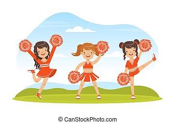 ilustración, cheerleading, amaestrado, niñas, pom, juntos, vector, uniforme, estadio, bailando, rojo, aire libre, poms, equipo, fútbol