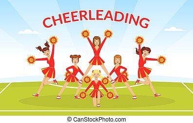 ilustración, cheerleading, poms, amaestrado, niñas, bandera, aire libre, pom, vector, plantilla, uniforme, estadio, ventiladores, bailando, rojo, juntos, equipo, fútbol