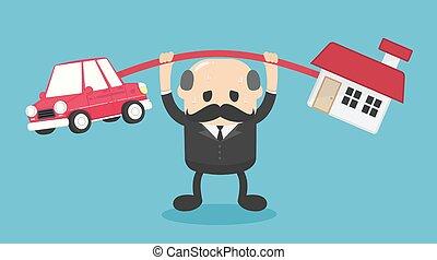 ilustración, coche, caricatura, ambos, concepto, carga, ...