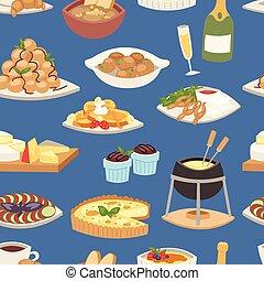 ilustración, cocina, delicioso, placa, gastrónomo, patrón,...