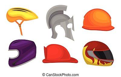 ilustración, colección, atleta, casco, cascos, vector, motociclista, ciclista, diferente, caballero