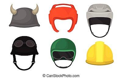 ilustración, colección, casco, trabajador, cascos, atleta, motociclista, vector, diferente, construcción