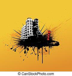 ilustración, con, city., vector