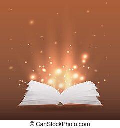 ilustración, con, libro abierto, rayos de la luz, y, chispea, para, su, creatividad