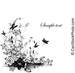ilustración, con, mariposa, y, diferente, flores, decoración