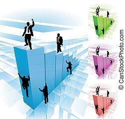 ilustración, concepto, empresa / negocio, trepador