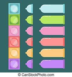 ilustración, condón, vector