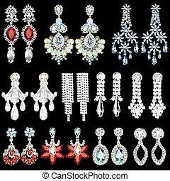 a6ec86d3247c Piedras, conjunto, joyas, ilustración, pendientes, precioso.