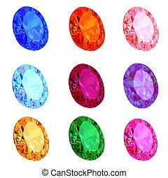 ilustración, conjunto, de, transparente, gemas, blanco