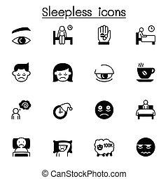 ilustración, conjunto, iconos, insomne, vector, diseño gráfico