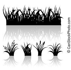 ilustración, conjunto, silueta, de, pasto o césped, con, reflexión, aislado, blanco, plano de fondo, -, vector