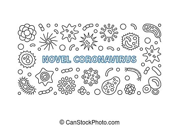ilustración, contorno, coronavirus, horizontal, vector, ...