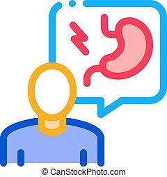 ilustración, contorno, gastroenterologist, doctor, vector, icono