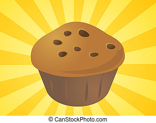 ilustración, cupcake