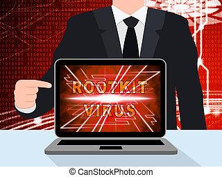 ilustración, cyber, virus, rootkit, spyware, criminal, 3d