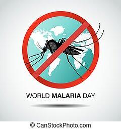 ilustración, día, malaria, vector, mundo, diseño, plano