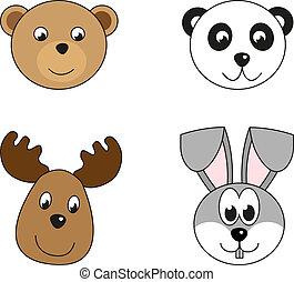 ilustración, de, 4, animal, cabezas