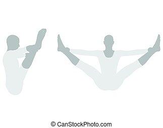 ilustración, de, actitud del yoga