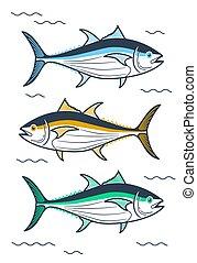 ilustración, de, atún, lineal, estilo