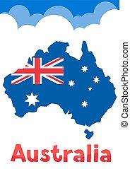 ilustración, de, australia, mapa, con, bandera, y, clouds.