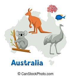 ilustración, de, australia, mapa, con, fauna, animals.